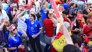 KIEV, UKRAINE - 1 JULY 2012: Spanish and Italian football fans before final match of European Football Championship