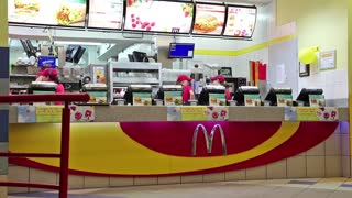 KIEV, UKRAINE, AUGUST 12, 2012: The opening of the new restaurant McDonalds and distribution of free hot drinks, August 12, 2012 in Kiev, Ukraine.