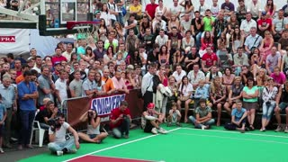 KIEV, UKRAINE, AUGUST 24, 2012: Final Ukrainian streetball league on Khreschatyk street dedicated to celebrating Independence Day in Kiev, Ukraine, August 24, 2012.