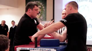KIEV, UKRAINE, JANUARY 31, 2011: Arm wrestling competition