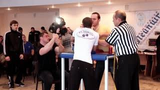 "KIEV, UKRAINE, JANUARY 31, 2011: Arm wrestling competition ""Kiev Armwrestling Championship 2011"", January 31, 2011 in Kiev, Ukraine"