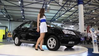 """KIEV, UKRAINE, MAY 26, 2011: Black Geely Emgrand at yearly automotive-show """"SIA 2011""""."""