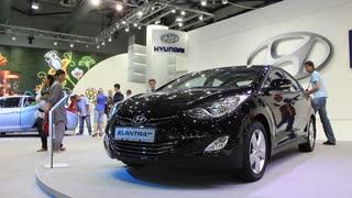 "KIEV, UKRAINE, MAY 26, 2011: Black Hyundai Elantra MD at yearly automotive-show ""SIA 2011""."