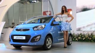"KIEV, UKRAINE, MAY 26, 2011: Blue KIA Picanto at yearly automotive-show ""SIA 2011""."