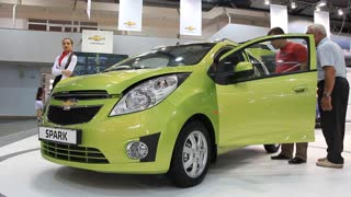 KIEV, UKRAINE, MAY 26, 2011: Green Chevrolet Spark at yearly automotive-show