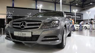 """KIEV, UKRAINE, MAY 26, 2011: Mercedes-Benz C-class at yearly automotive-show """"SIA 2011""""."""