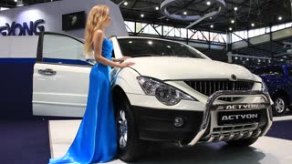 """KIEV, UKRAINE, MAY 26, 2011: Ssang Yong Actyon at yearly automotive-show """"SIA 2011""""."""