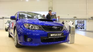 "KIEV, UKRAINE, MAY 26, 2011: Subaru WRX STI at yearly automotive-show ""SIA 2011""."