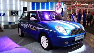 """KIEV, UKRAINE, MAY 27, 2012: Blue Lifan 320 at yearly automotive-show """"SIA 2011"""" in Kiev, Ukraine."""