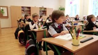 KIEV, UKRAINE, SEPTEMBER 1, 2012: The first lesson in the new gymnasium for gifted children in Kiev, Ukraine, September 1, 2012