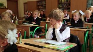 KIEV, UKRAINE, SEPTEMBER 1, 2012: The first lesson in the new gymnasium for gifted children in Kiev, Ukraine
