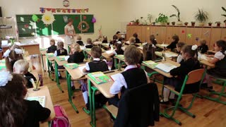 KIEV, UKRAINE, SEPTEMBER 1, 2012: The first lesson in the new gymnasium for gifted children in Kiev, Ukraine