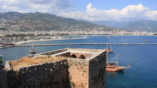 Kizil Kule (Red Tower) - main tourist attraction in the Turkish city of Alanya. Building is considered to be the symbol of the city and is even used on the city's flag