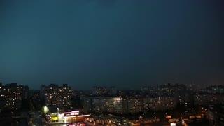Lightning strikes on a dark stormy night, video timelapse