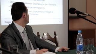 Man speaking at a business seminar