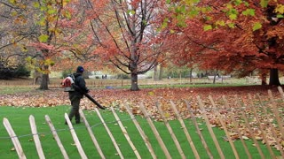 Man with leaf blower in London, England