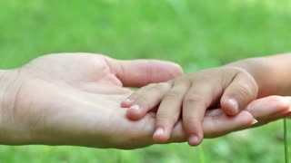 Mother and daughter hands on green background. Hand in hand. Tenderness. Concern for children