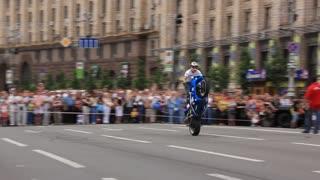 Motorcycle-riders on motorbike show in Kiev, Ukraine