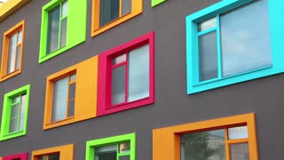 New building with many-coloured windows