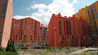 New buildings with many-coloured facades