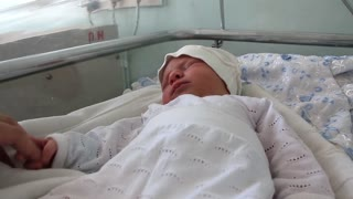 Newborn baby in delivery room