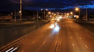 Night road traffic