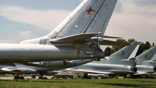 Old aircrafts in national aviation museum in Kiev, Ukraine, located near Zhulyany Airport. In museum is mainly presented Soviet aviation industry. Exhibition of civil and military airplanes
