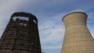 Old and new water-cooling towers on old heat electropower station