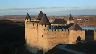Old castle, stone fortress in Khotyn city, western Ukraine. Khotyn, first chronicled in 1001 year, is located on southwestern bank of Dniester River, and is part of Bessarabia historical region