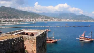 Old fortress and ancient ships Alanya, Turkey