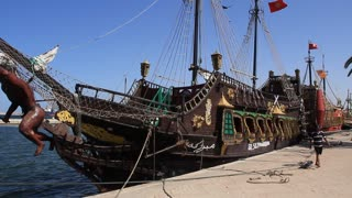 Old frigate in harbour