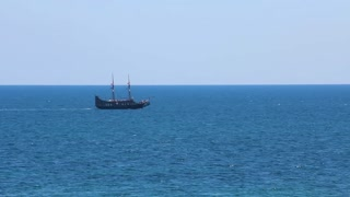 Old frigate in Mediterranean Sea