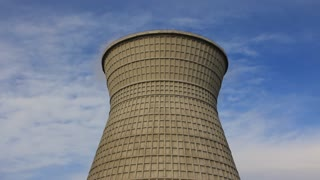 Old heat electropower station. Water-cooling tower
