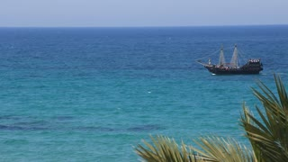 Old ship in Mediterranean Sea, Tunisia, Sousse