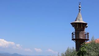 Old wooden minaret in Alanya, Turkey