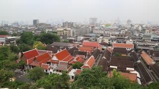 Panorama of Bangkok downtown. View from Golden Mountain, Wat Saket