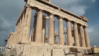 Parthenon - antique temple in Athenian Acropolis in Greece, dedicated to the goddess Athena, whom the people of Athens considered their patron