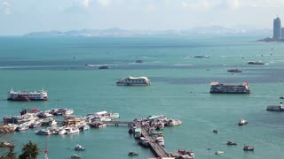 Pattaya city port and Gulf of Siam in Thailand