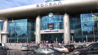 People by new building of railroad station in Kiev, Ukraine