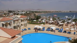 People by pool in hotel in Sharm El Sheikh, Egypt