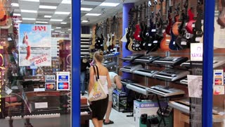 People in musical shop