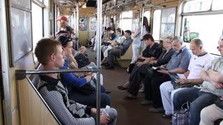 People in the carriage of subway in Kiev, Ukraine