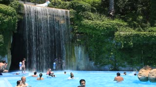 People inside aquapark in Antalya, Turkey