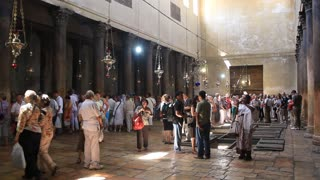 People inside church of the Nativity in Bethlehem in Israel