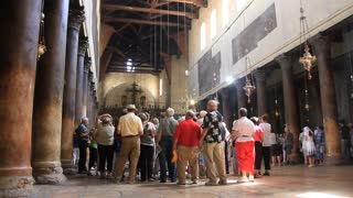 People inside church of the Nativity in Bethlehem, Palestinian National Authority