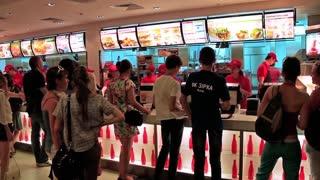 People inside fast food restaurant