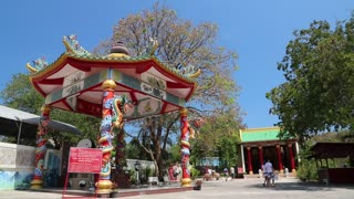 People near buddhist temple on Pratumnak Hill in Pattaya, Thailand