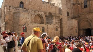 People near Church of the Holy Sepulchre in Jerusalem, Israel