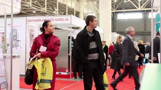 People on international medical exhibition
