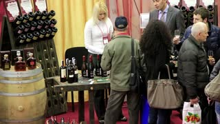 People on presentation and wine sampling